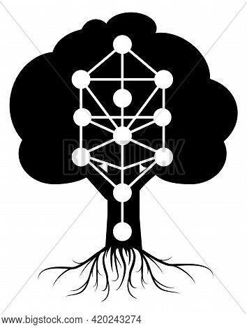 Kabbalah Tree Of Life Vector Symbol Isolated On White Background. Monochrome Illustration . Simplifi