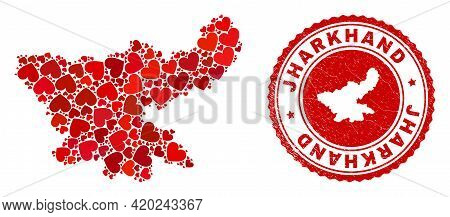 Collage Jharkhand State Map Designed With Red Love Hearts, And Corroded Seal Stamp. Vector Lovely Ro
