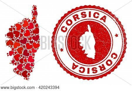 Mosaic Corsica Map Formed With Red Love Hearts, And Corroded Seal Stamp. Vector Lovely Round Red Rub