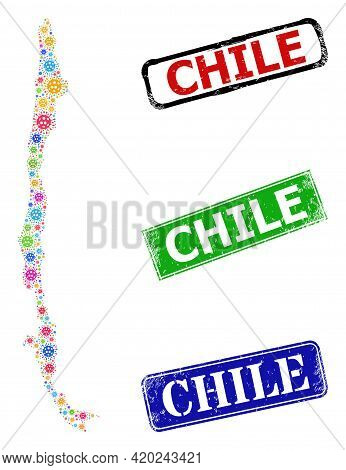 Vector Viral Mosaic Chile Map, And Grunge Chile Stamps. Vector Multi-colored Chile Map Mosaic, And C