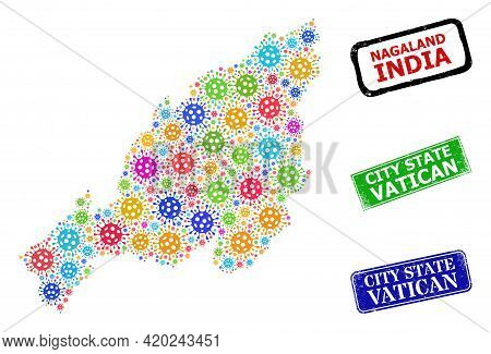 Vector Covid-2019 Collage Nagaland State Map, And Grunge City State Vatican Seals. Vector Multi-colo