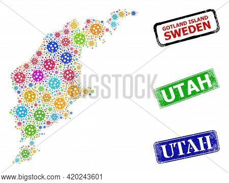 Vector Virus Collage Gotland Island Map, And Grunge Utah Stamps. Vector Colored Gotland Island Map M