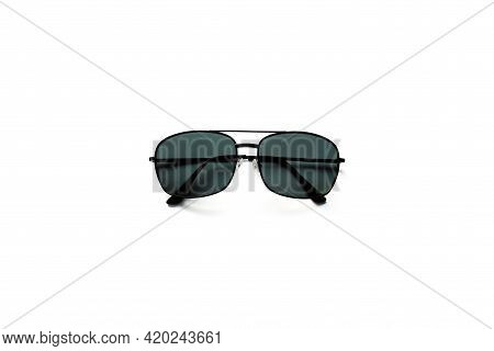 Black Sun Glasses Uv Protection On White Background.