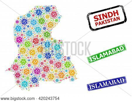 Vector Contagious Collage Sindh Province Map, And Grunge Islamabad Seal Stamps. Vector Colored Sindh