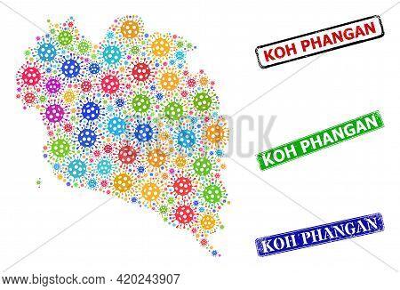 Vector Virus Collage Koh Phangan Map, And Grunge Koh Phangan Badges. Vector Multi-colored Koh Phanga