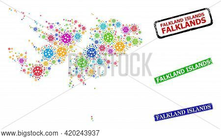Vector Infection Mosaic Falkland Islands Map, And Grunge Falkland Islands Seals. Vector Colored Falk