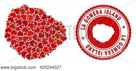 Collage La Gomera Island Map Composed With Red Love Hearts, And Rubber Badge. Vector Lovely Round Re