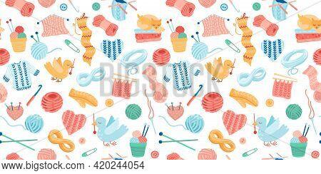 Needlework Seamless Pattern. Knitting With Yarn, Knitting Needles, Mittens And Animals. Cute Bright