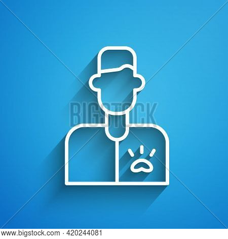 White Line Veterinarian Doctor Icon Isolated On Blue Background. Long Shadow. Vector