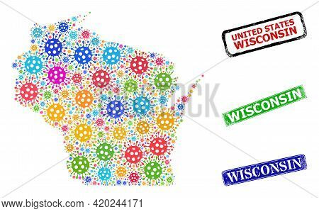 Vector Contagious Collage Wisconsin State Map, And Grunge Wisconsin Stamps. Vector Multi-colored Wis