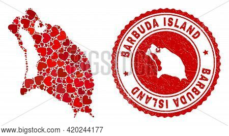 Mosaic Barbuda Island Map Formed With Red Love Hearts, And Unclean Stamp. Vector Lovely Round Red Ru