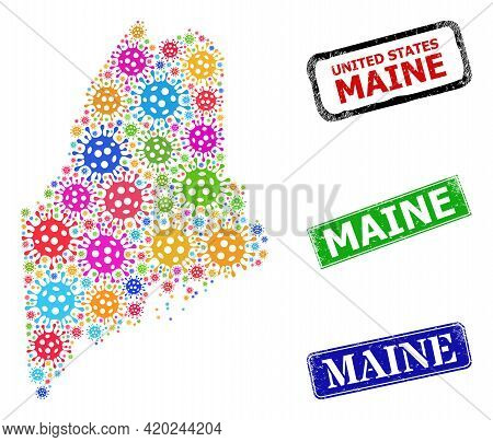 Vector Viral Collage Maine State Map, And Grunge Maine Seals. Vector Multi-colored Maine State Map C