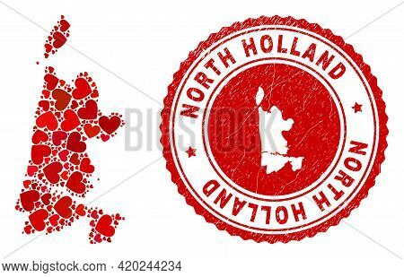 Mosaic North Holland Map Composed With Red Love Hearts, And Rubber Seal. Vector Lovely Round Red Rub