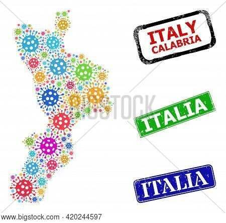 Vector Virulent Mosaic Calabria Region Map, And Grunge Italia Seal Stamps. Vector Colorful Calabria