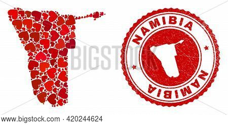 Mosaic Namibia Map Composed With Red Love Hearts, And Scratched Stamp. Vector Lovely Round Red Rubbe
