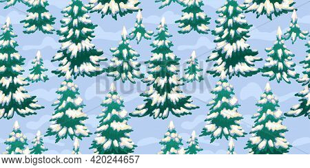 Winter Seamless Pattern, Christmas Trees In The Forest And Snow. Christmas Design, Texture For Backg