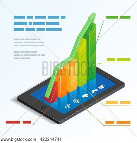 Colorful Ascending 3d Bar Graph On A Tablet Touchscreen Depicting Mobile Online Analytics With A Tex