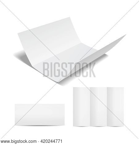 Blank White Brochure Or Flyer Template With A Trifold Sheet Of Paper In The Open  Closed And Partial