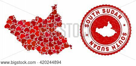 Collage South Sudan Map Composed With Red Love Hearts, And Grunge Seal Stamp. Vector Lovely Round Re