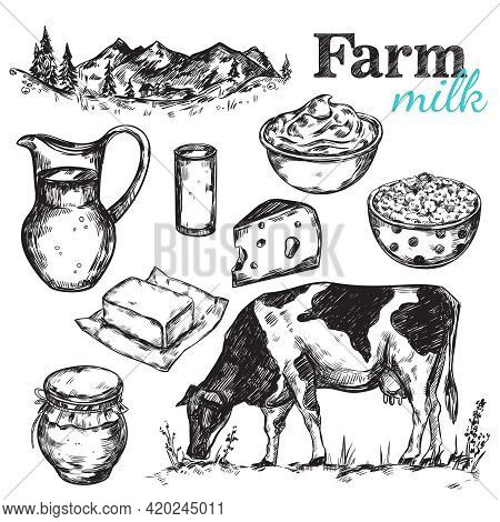 Cow And Nature Milk Sketch With Black Drawn Isolated Icon Set About Farm And Milk Themes Vector Illu