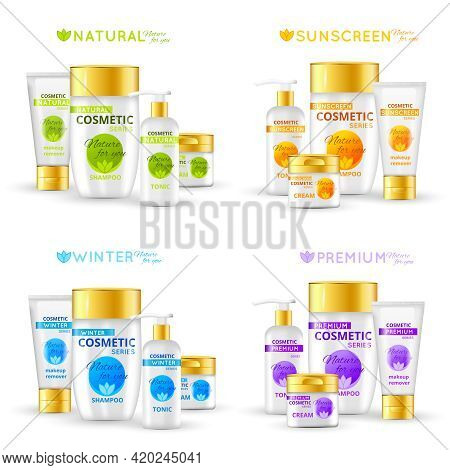 Cosmetic Series Packaging Design For Sunscreen And Winter Sets Natural Line And Premium Product Isol