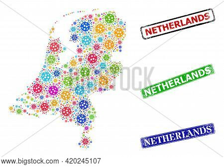 Vector Covid-2019 Collage Netherlands Map, And Grunge Netherlands Seals. Vector Colorful Netherlands