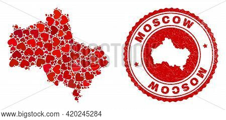 Collage Moscow Region Map Composed From Red Love Hearts, And Rubber Seal Stamp. Vector Lovely Round
