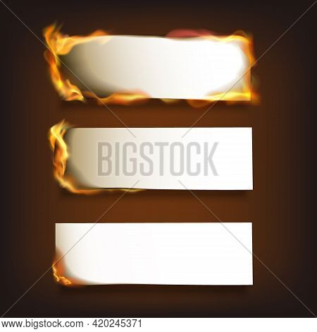 Burning Blank Paper Sheets Set With Various Degree Of Ignition On Black Background Isolated Vector I