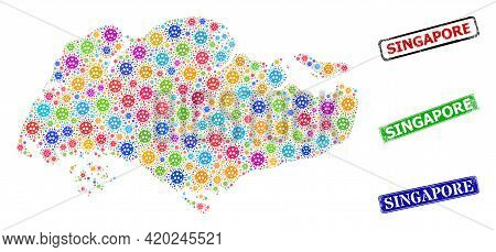 Vector Bacterium Mosaic Singapore Map, And Grunge Singapore Badges. Vector Vibrant Singapore Map Mos