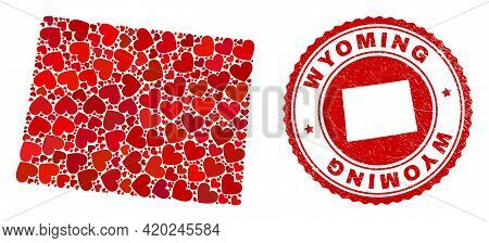 Collage Wyoming State Map Formed With Red Love Hearts, And Rubber Seal Stamp. Vector Lovely Round Re