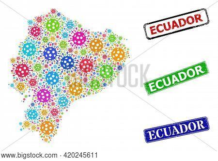 Vector Covid Collage Ecuador Map, And Grunge Ecuador Seals. Vector Colored Ecuador Map Collage, And