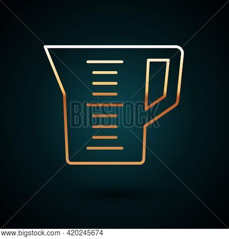 Gold Line Measuring Cup To Measure Dry And Liquid Food Icon Isolated On Dark Blue Background. Plasti
