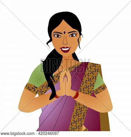 Indian Woman Wearing Sari Saying Namaste, Isolated On White
