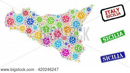 Vector Virus Collage Sicilia Map, And Grunge Sicilia Badges. Vector Multi-colored Sicilia Map Mosaic