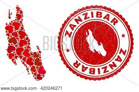 Mosaic Zanzibar Island Map Composed From Red Love Hearts, And Unclean Seal Stamp. Vector Lovely Roun