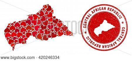 Mosaic Central African Republic Map Created With Red Love Hearts, And Textured Seal Stamp. Vector Lo