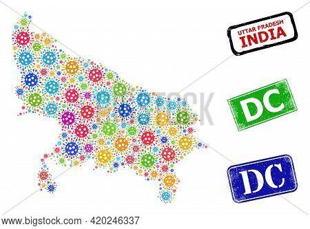 Vector Covid-2019 Collage Uttar Pradesh State Map, And Grunge Dc Stamps. Vector Colored Uttar Prades
