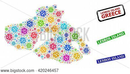 Vector Infection Mosaic Lesbos Island Map, And Grunge Lesbos Island Stamps. Vector Multi-colored Les