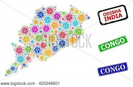 Vector Coronavirus Collage Odisha State Map, And Grunge Congo Seal Stamps. Vector Multi-colored Odis