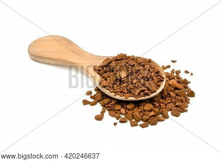 Instant Coffee Powder With Wooden Spoon Isolated On White Background