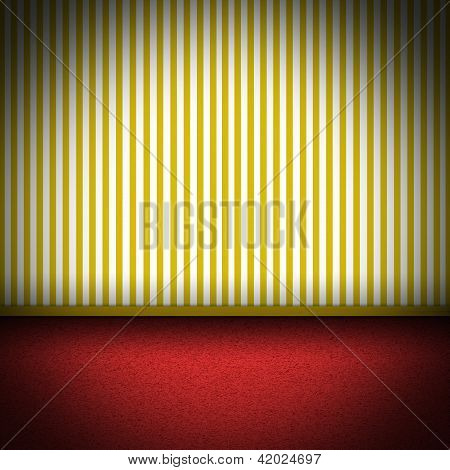 Illustration Of Red Carpet Floor With Yellow Striped Wellpaper