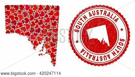 Collage South Australia Map Designed With Red Love Hearts, And Rubber Stamp. Vector Lovely Round Red
