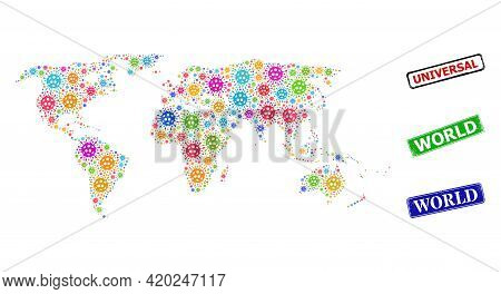 Vector Covid-2019 Mosaic World Map, And Grunge World Stamps. Vector Vibrant World Map Collage, And W