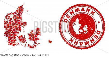 Mosaic Denmark Map Formed With Red Love Hearts, And Unclean Stamp. Vector Lovely Round Red Rubber Se