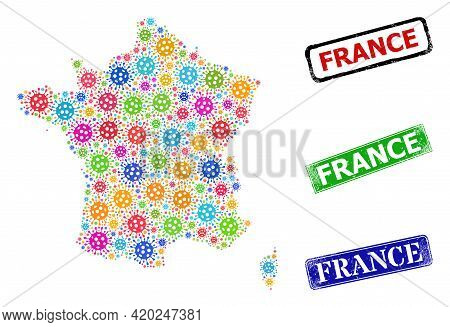 Vector Covid Collage France Map, And Grunge France Seals. Vector Vibrant France Map Mosaic, And Fran