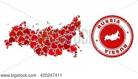 Mosaic Russia Map Created With Red Love Hearts, And Unclean Seal Stamp. Vector Lovely Round Red Rubb
