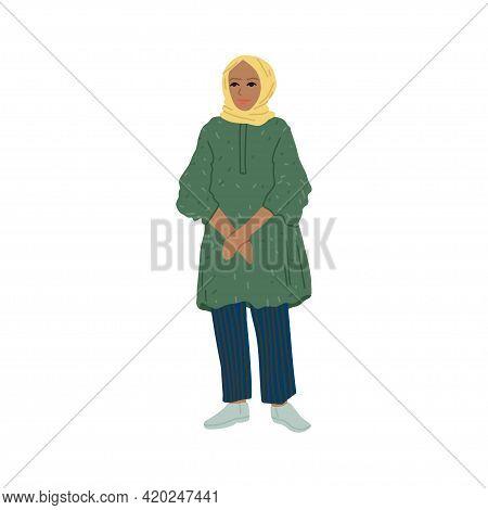 Arab Modern Woman, Headdress On Her Head, Portrait Or Avatar Of A Girl In Full Growth. Vector Cartoo