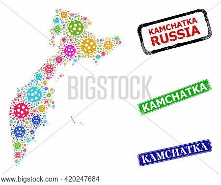 Vector Covid Mosaic Kamchatka Map, And Grunge Kamchatka Seals. Vector Multi-colored Kamchatka Map Co