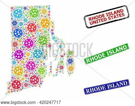 Vector Contagious Collage Rhode Island State Map, And Grunge Rhode Island Stamps. Vector Multi-color