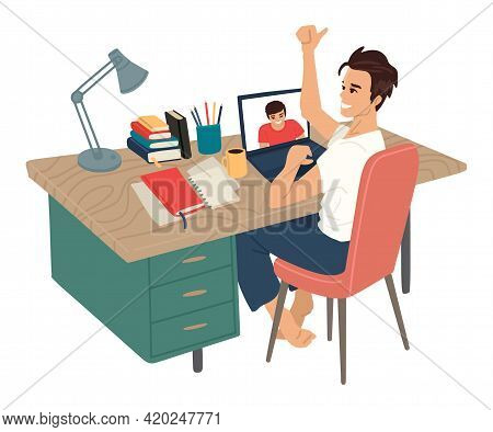 Workplace, Negotiations. Man Sits At Workplace With A Computer, Online Video Communication. Thumbs U